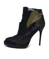Alexander McQueen Black Olive Leather Suede Booties 2