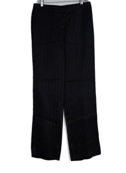 Alexander McQueen Black White Pinstripes Satin Pants 1