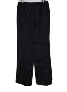 Alexander McQueen Black White Pinstripes Satin Pants 2