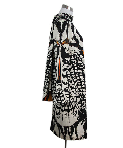 Alexander McQueen black white print silk dress 1