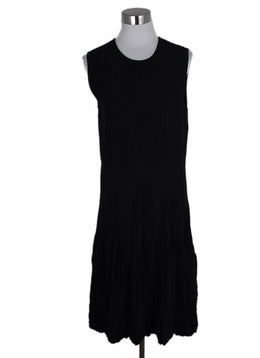 Alexander McQueen Black Wool Pleated Dress 1