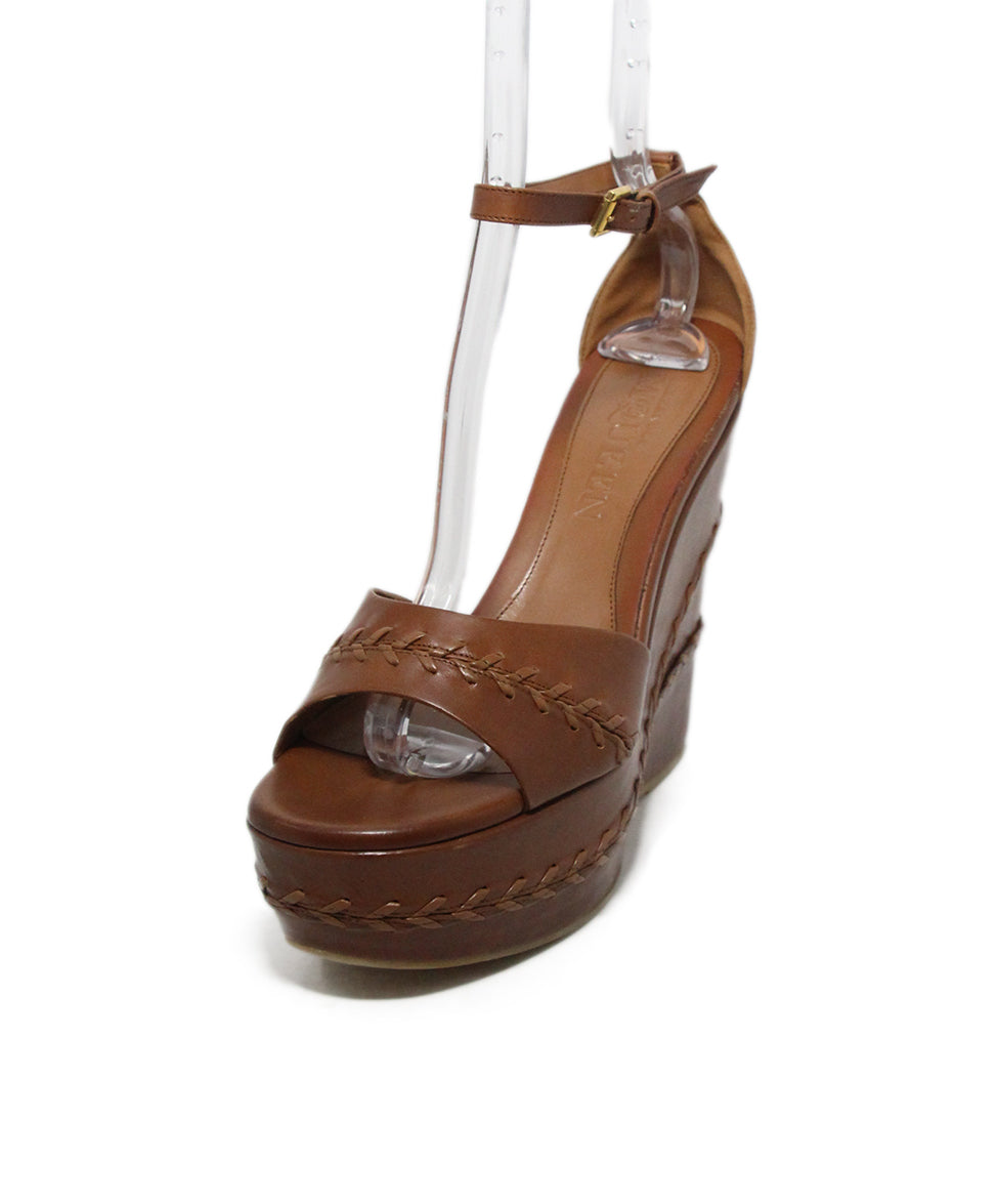 Alexander McQueen brown leather wedges 1
