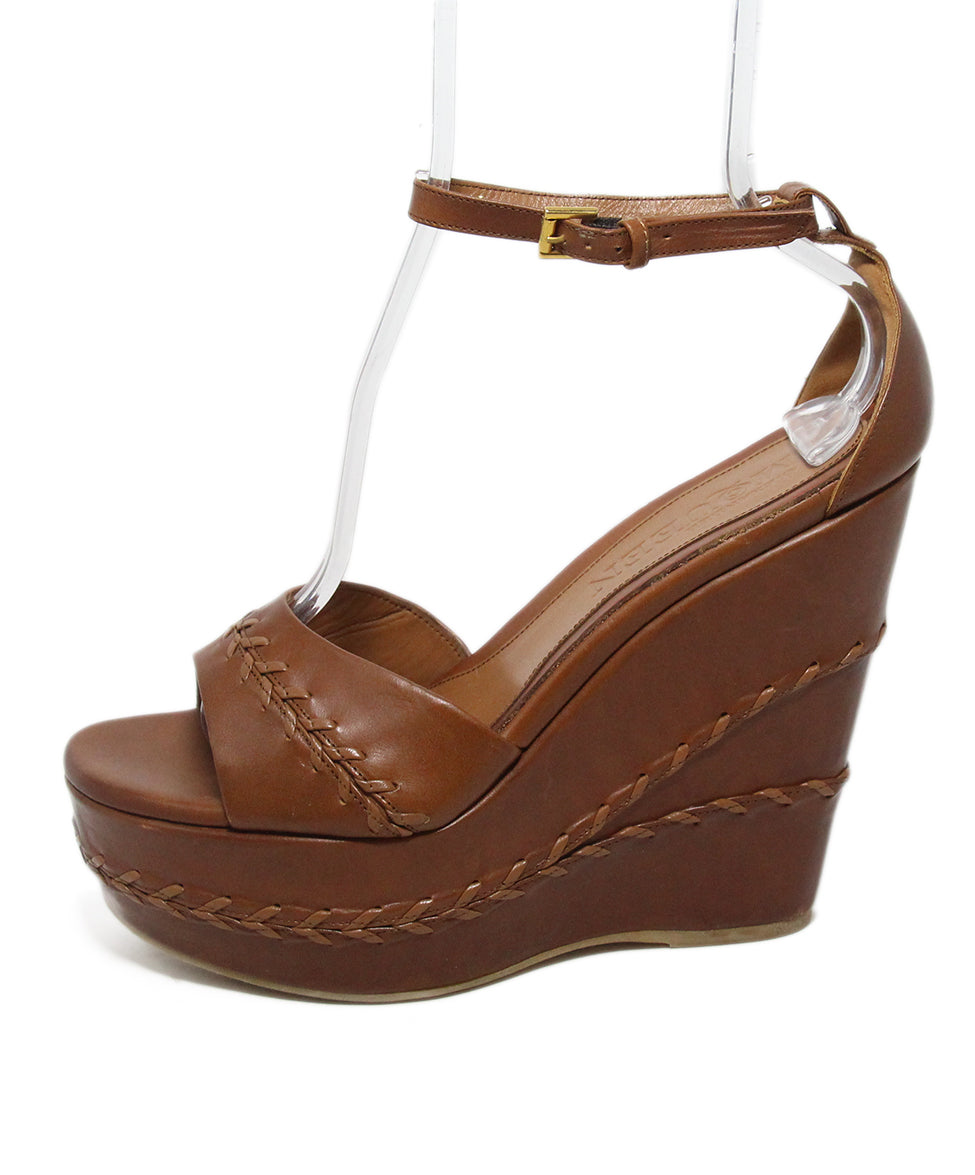 Alexander McQueen brown leather wedges 2