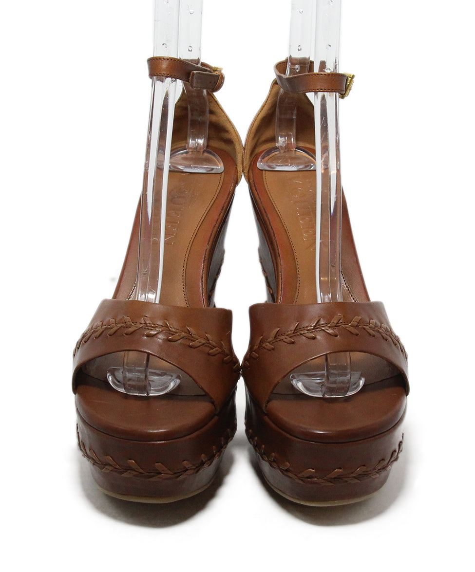 Alexander McQueen brown leather wedges 4