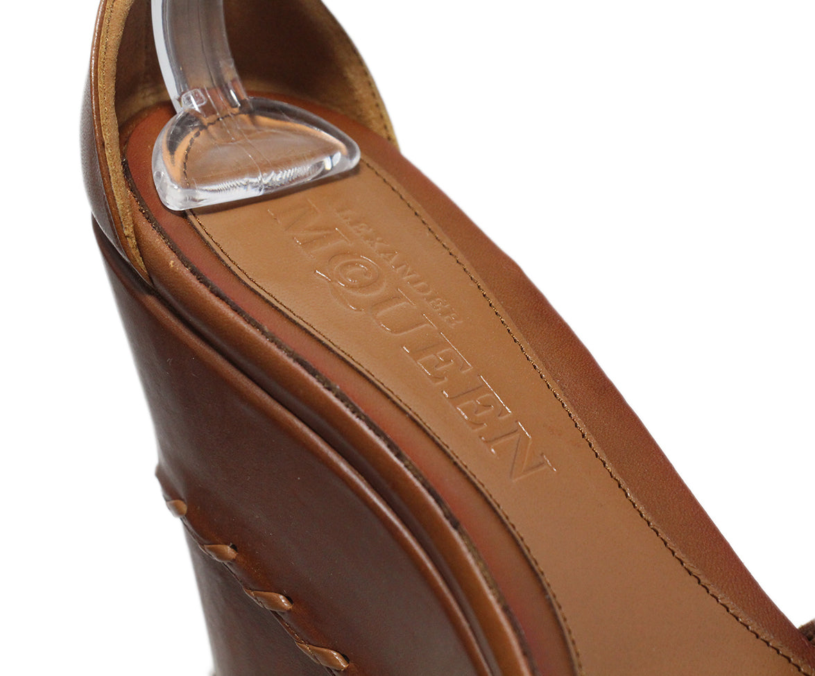 Alexander McQueen brown leather wedges 7