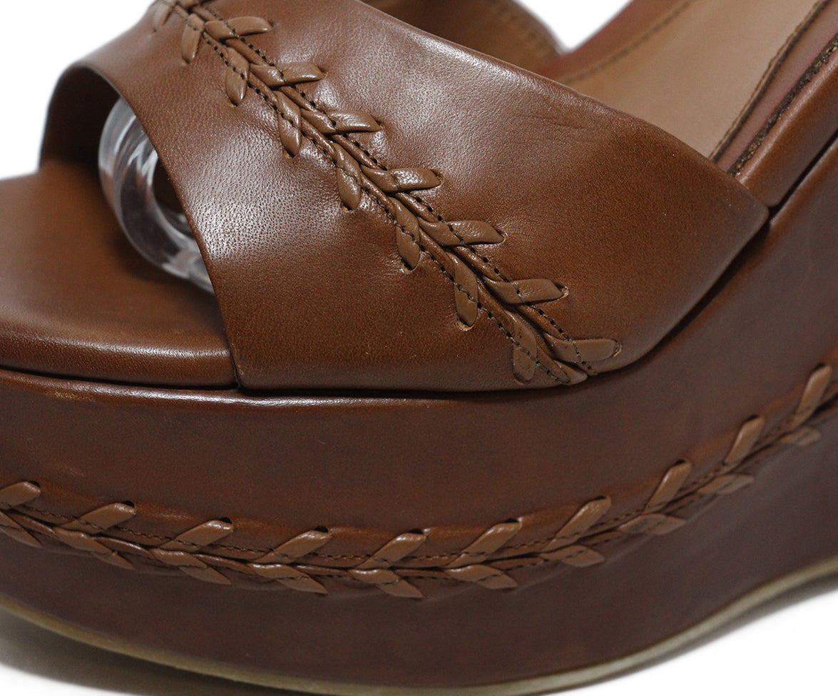 Alexander McQueen brown leather wedges 8