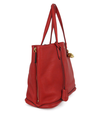 Alexander McQueen red leather tote 1