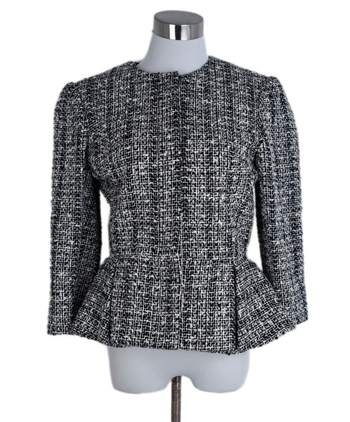 Alexander McQueen White Black Cotton Wool Jacket 1