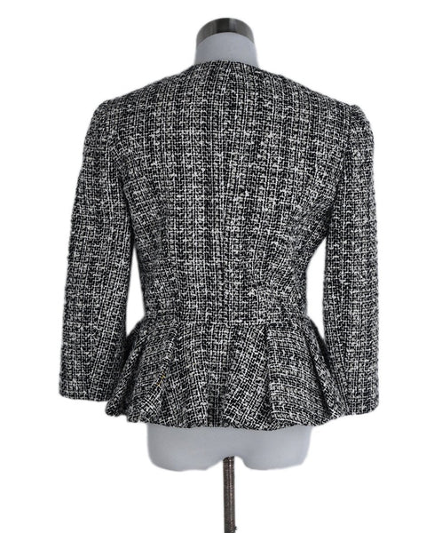 Alexander McQueen White Black Cotton Wool Jacket 3