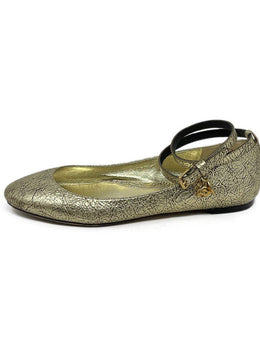 Flats Alexander McQueen Shoe Size US 10 Metallic Gold Leather W/Strap Shoes