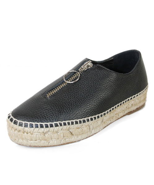 Alexander Wang Black Leather Espadrilles Sz 37