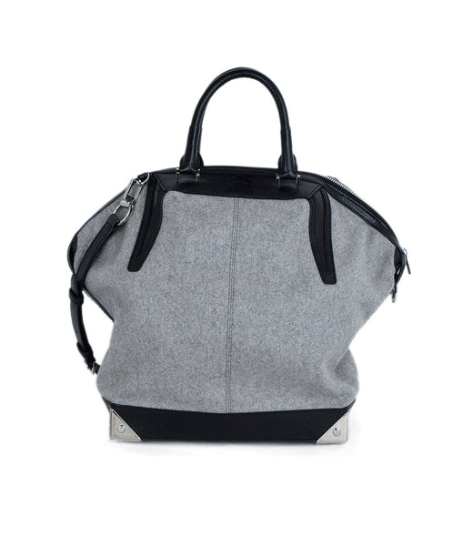 Alexander Wang Grey Flannel Black Leather Trim Handbag 1