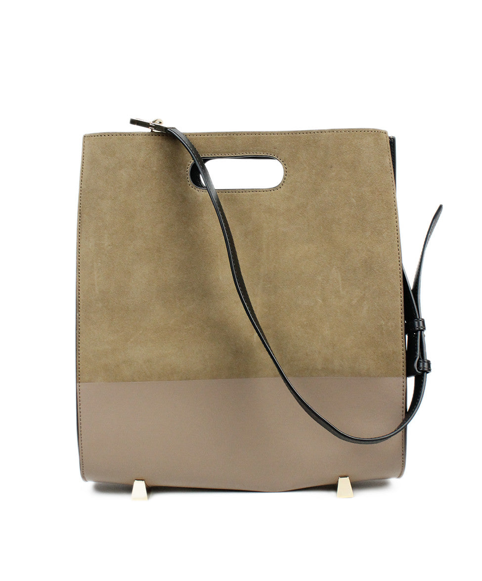 Alexander Wang Chastity Taupe Black Nubuck Leather Tote w/ Case - Michael's Consignment NYC  - 1