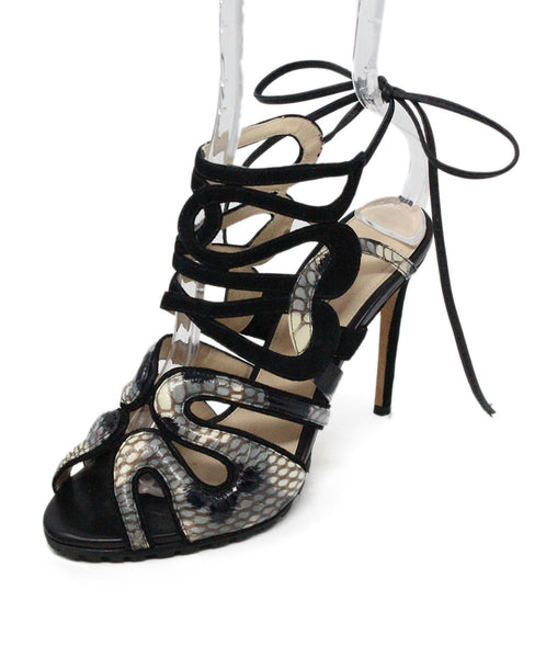 Alexandre Birman Black Suede and Leather Sandals 1