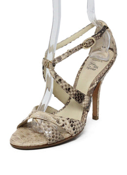 Alexandre Birman Neutral Snake Skin Sandals 1
