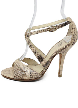 Alexandre Birman Neutral Snake Skin Sandals 2