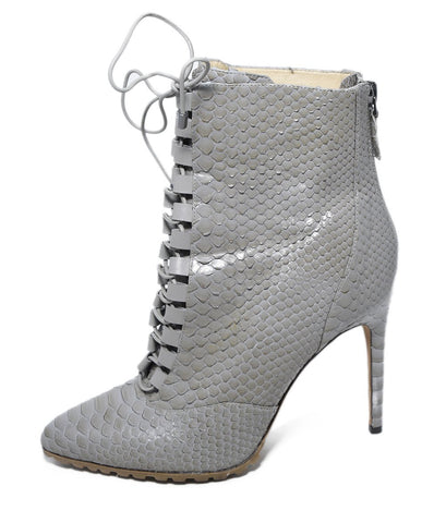 Alexandre Birman Grey Taupe Python Lace Up Booties 1