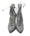 Alexandre Birman Grey Taupe Python Lace Up Booties 4