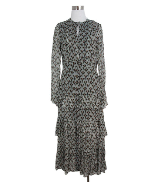 Alexis grey black print silk dress 1