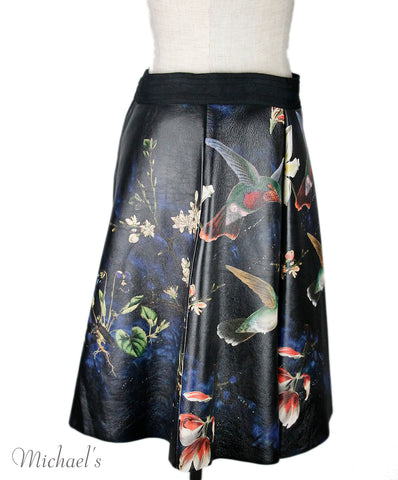 Alice+olivia Black Leather Bird Print Skirt Sz 4