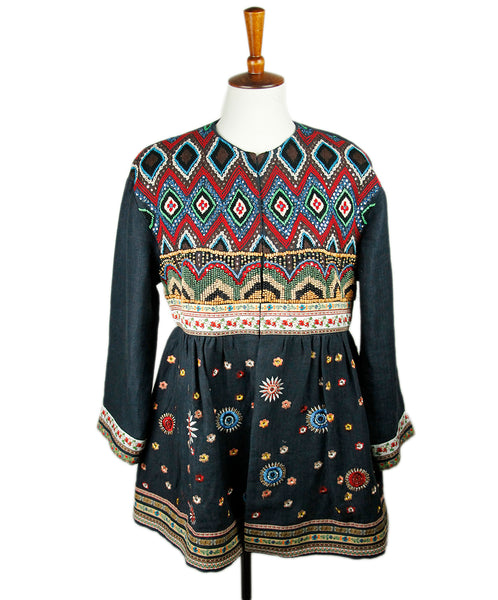Alice+Olivia Blue Denim Red Green Embroidery Beaded Jacket Sz M