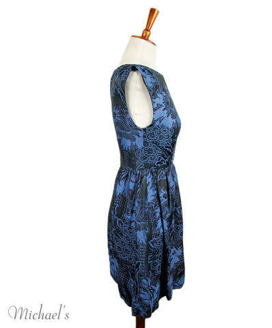 Alice+Olivia Black Blue Viscose Dress 1