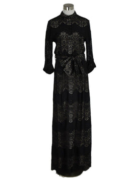 Alice+Olivia Black Lace Long Dress 1