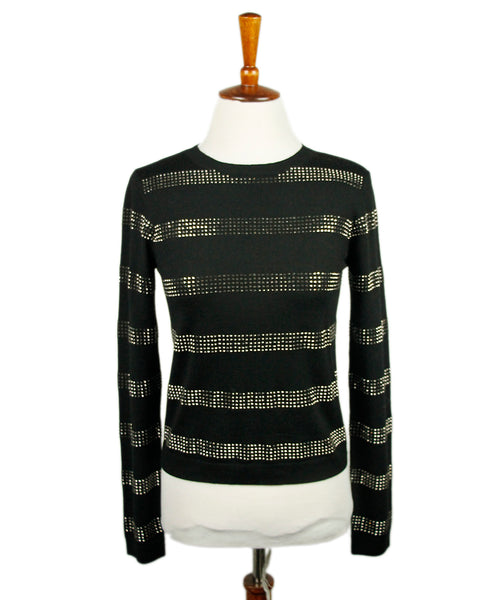 Alice+Olivia Black Wool Silver Studs Sweater 1
