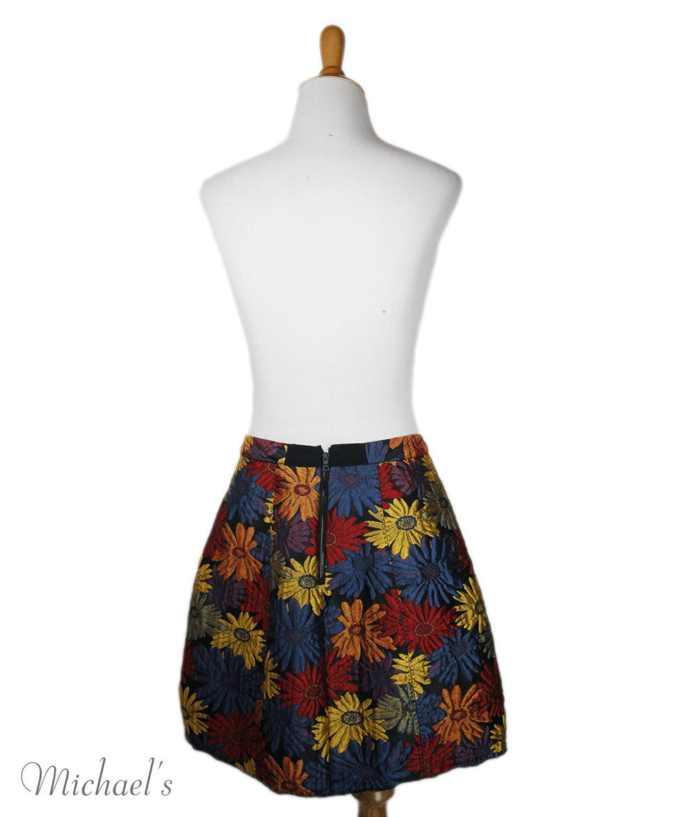 Alice+Olivia Red Blue Floral Print Viscose Skirt Sz 4