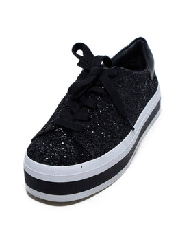 Alice + Olivia Black Glitter White Sneakers 1