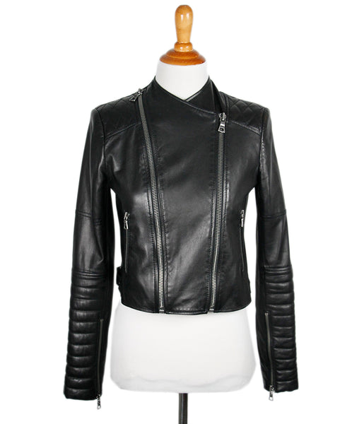 Alice+ Olivia Black Leather Zipper Jacket  Sz Xs