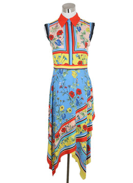 Alice + Olivia Blue Red Yellow Floral Silk Dress 3