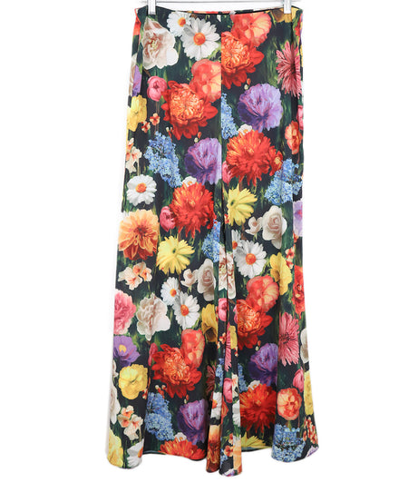 Alice + Olivia Black Floral Multi Color Silk Skirt sz. 6
