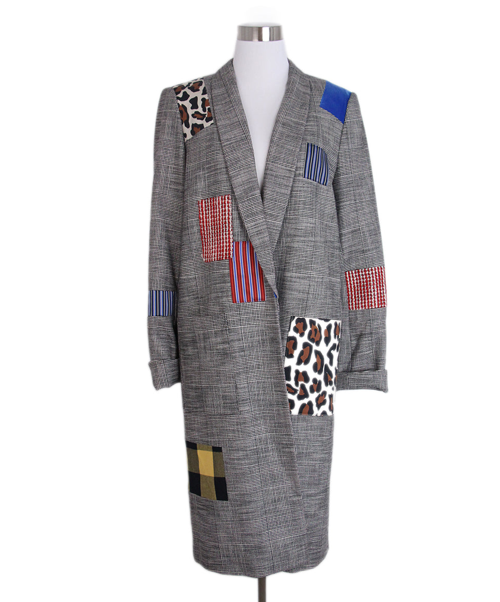 Alice + Olivia Grey Plaid Patchwork Coat 1