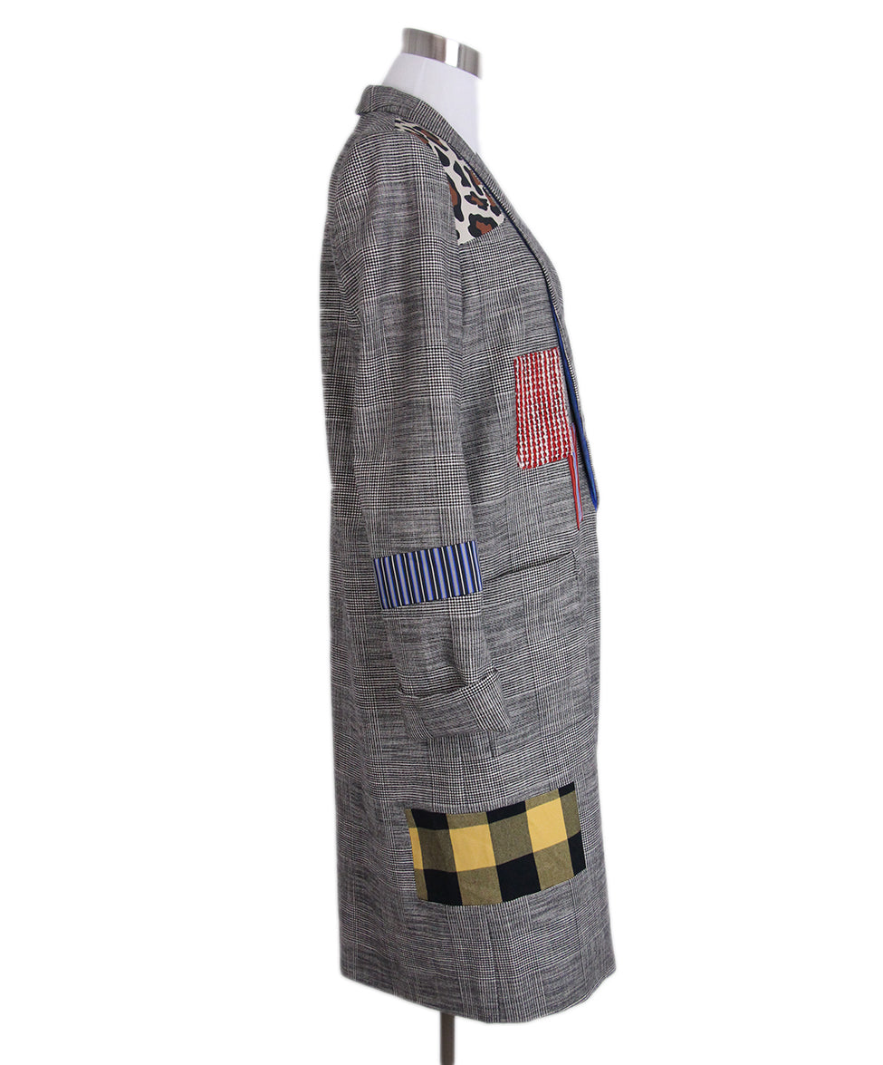Alice + Olivia Grey Plaid Patchwork Coat 2