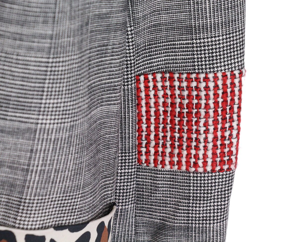 Alice + Olivia Grey Plaid Patchwork Coat 6