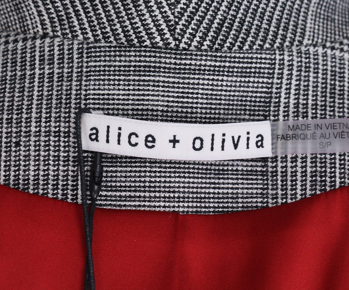 Alice + Olivia Grey Plaid Patchwork Coat 4