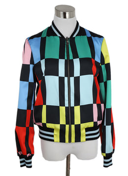 Alice + Olivia Black Multi Color Checkerboard Print Jacket 1