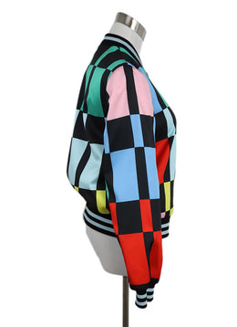 Alice + Olivia Black Multi Color Checkerboard Print Jacket 3