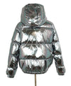 Alice + Olivia Metallic Silver Puffy Down Lining Coat Outerwear 3