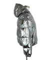 Alice + Olivia Metallic Silver Puffy Down Lining Coat Outerwear 2
