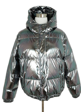 Alice + Olivia Metallic Silver Puffy Down Lining Coat Outerwear 1