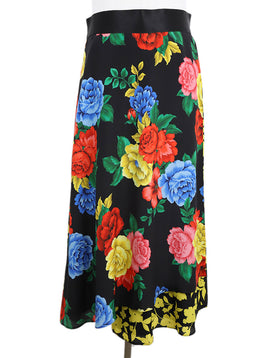 Alice + Olivia Black Floral Multi Color Silk Skirt 1