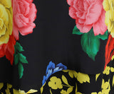Alice + Olivia Black Floral Multi Color Silk Skirt 5