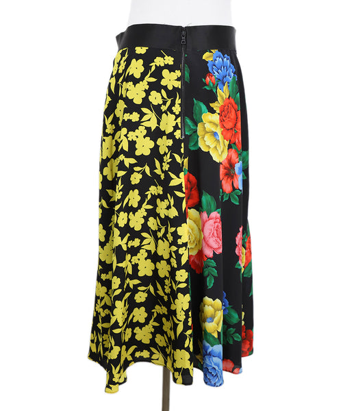 Alice + Olivia Black Floral Multi Color Silk Skirt 3