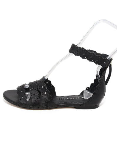 Alice + Olivia black leather sandals 1