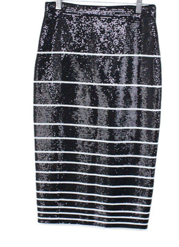 Alice + Olivia Size 0 Black Sequins White Stripes Polyester Skirt