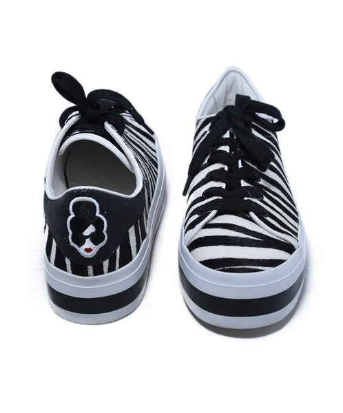 Alice + Olivia Black White Zebra Fur Sneakers 3
