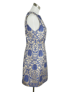 Alice + Olivia Blue Champagne Polyester Viscose Dress 2