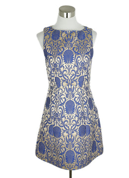Alice + Olivia Blue Champagne Polyester Viscose Dress 1